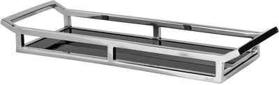 Fink Dekotablett »PIANO, silberfarben/schwarz, rechteckig« (1 Stück), Tablett, aus Edelstahl, mit Glasboden, in verschiedenen Größen erhältlich, Wohnzimmer