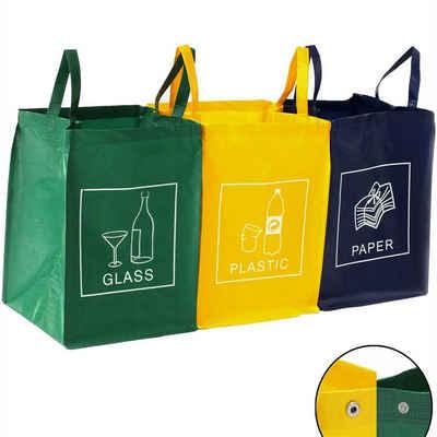 TRESKO Mülltrennsystem, Mülltrenner 3-in-1 Mülleimer für Glas, Plastik und Papier, Abfalltrennsystem einfach zu reinigen, robust