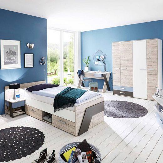 Lomadox Jugendzimmer-Set »LEEDS-10«, (Sparset, 4-tlg), mit Schreibtisch 4-teilig in Sandeiche Nb. mit weiß, Lava und Denim Blau
