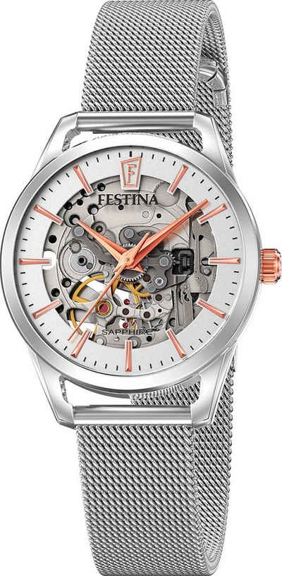 Festina Quarzuhr »UF20538/1 Festina Damen Uhr F20538/1 Edelstahlband«, (Analoguhr), Damen Armbanduhr rund, Edelstahlarmband silber, Elegant