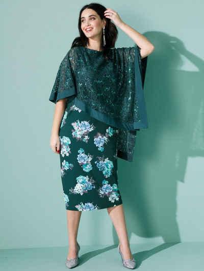 MIAMODA Jerseykleid mit asymmetrischem Spitzenüberwurf
