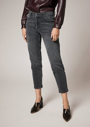 Comma 7/8-Jeans »Slim: 7/8-Jeans mit Waschung« Waschung, Leder-Patch