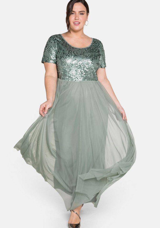 Festtagsmode - Sheego Abendkleid mit Pailletten › grün  - Onlineshop OTTO