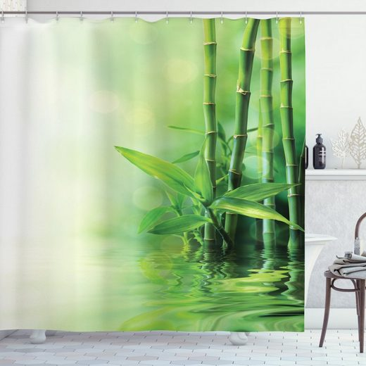 Abakuhaus Duschvorhang »Moderner Digitaldruck mit 12 Haken auf Stoff Wasser Resistent« Breite 175 cm, Höhe 200 cm, Asiatisch Spa Bambusse Bäume