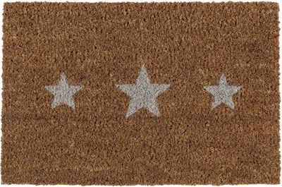 Fußmatte »Kokos Sterne«, Andiamo, rechteckig, Höhe 17 mm, Schmutzfangmatte, Motiv Sterne, In- und Outdoor geeignet