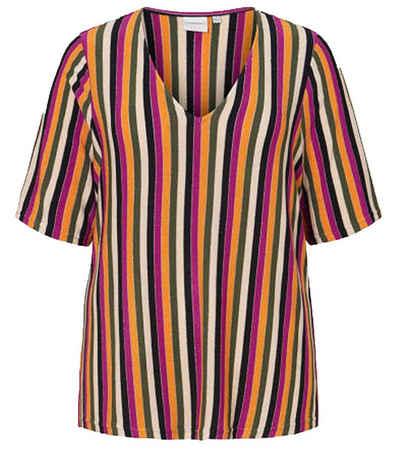 Junarose Kurzarmshirt »JUNAROSE Hafrun Kurzarm-Shirt farbenfrohes Damen V-Ausschnitt-Shirt T-Shirt mit Glitzerfasern Bunt«