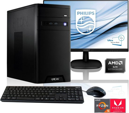 Hyrican »PC Ryzen 5 3400G 16GB RAM 1TB SSD + 68 cm (27) TFT« Gaming-PC-Komplettsystem (27 Zoll, AMD Ryzen 5, Radeon Vega 11, 16 GB RAM, 1000 GB SSD)