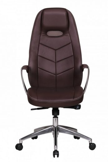 Amstyle Chefsessel »SPM1.227«, Bürostuhl BARI Echt-Leder Braun Schreibtischstuhl mit Armlehne Chefsessel Synchronmechanik Drehstuhl Kopfstütz