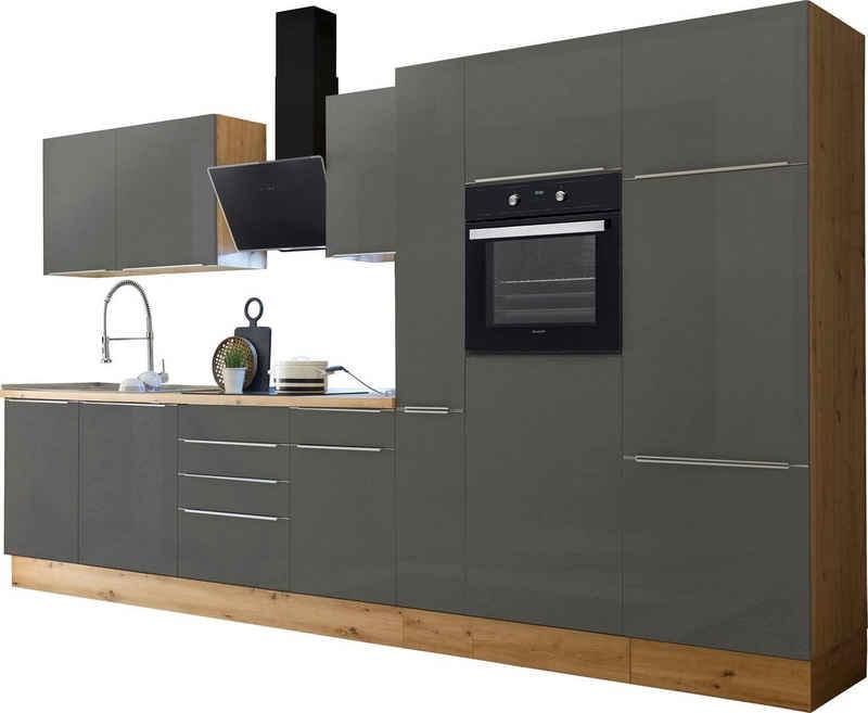 RESPEKTA Küchenzeile »Safado«, mit 2 E-Geräte-Sets zur Auswahl, hochwertige Ausstattung wie Soft Close Funktion, schnelle Lieferzeit, Breite 370 cm