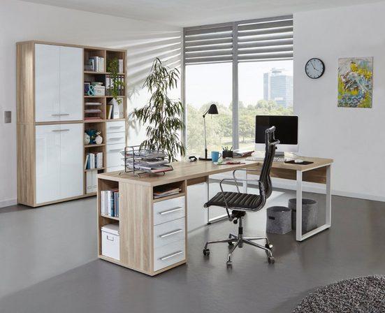 Maja Möbel Eckschreibtisch »Maja Set+ Set 17« (Büromöbel-Set, abschließbare Büroschränke, wechselseitig montierbarer Winkelschreibtisch), in verschiedenen Farbkombinationen
