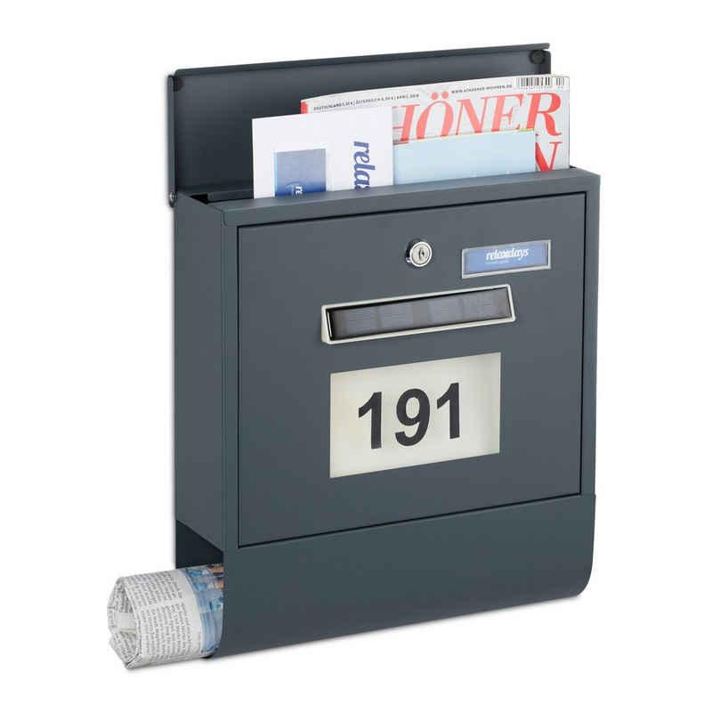 relaxdays Briefkasten »Briefkasten mit Beleuchtung«, Inklusive 2 Schlüssel, mit Zeitungsbox, inklusive Sticker für Hausnummer