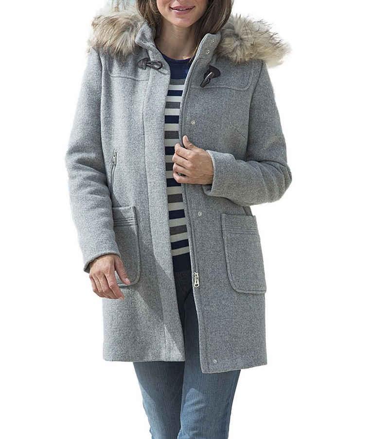 Betty Barclay Wintermantel »BETTY BARCLAY Woll-Mantel eleganter Damen Mantel Winter-Jacke mit hochwertigem Webpelz-Besatz Grau«