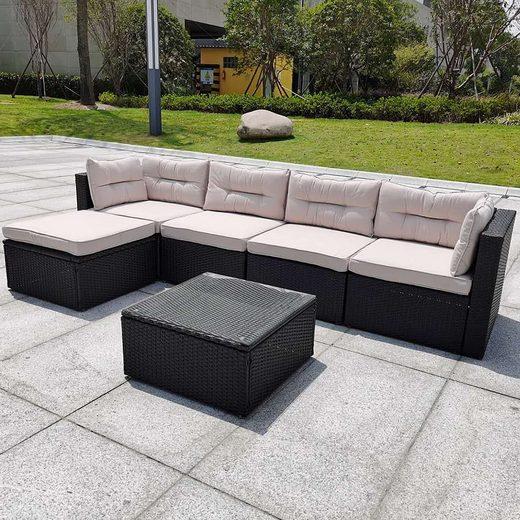 Mucola Gartenmöbelset »Rattanmöbel Gartenset Aluminium Anthrazit Beige Braun Sitzgruppe Rattanlounge Gartenlounge Polyrattan Lounge«, (6-tlg), aus Aluminium