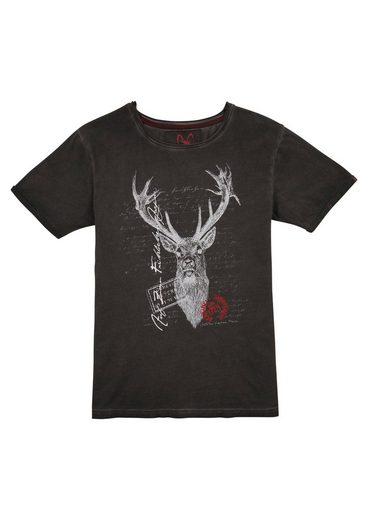 MarJo Trachtenshirt mit Print im Used Look