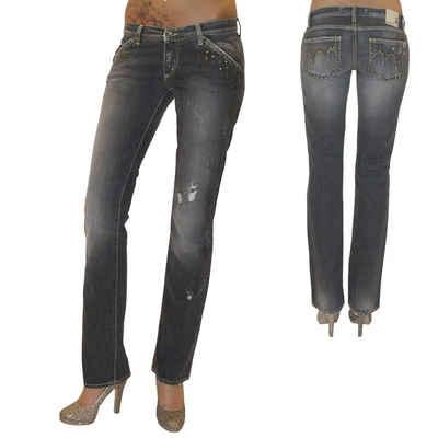 MET Jeans Gerade Jeans »New Body« Damen Destroyed Jeanshose Hose gerades Bein grau Used Nieten