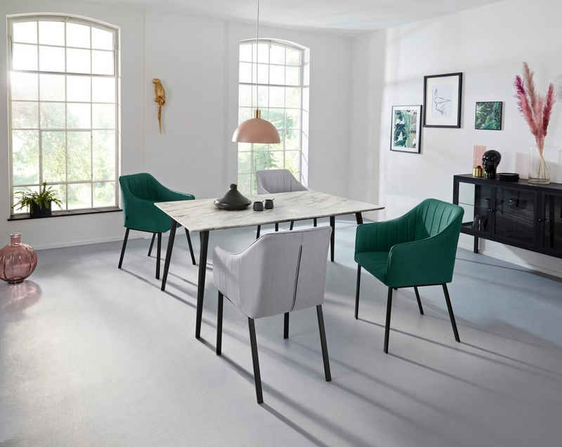 INOSIGN Esstisch »Tegan«, mit einem Metallgestell, in verschiedenen Tischgrößen, mit einer Hochglanz Oberfläche
