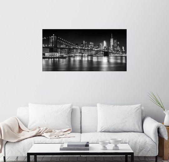 Posterlounge Wandbild, Skyline von New York bei Nacht Schwarz/Weiß