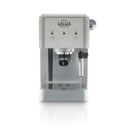Gaggia Kaffeevollautomat Gaggia RI8427/11 Gran Prestige Siebträger aus Edelstahl mit Panarello, 15 bar Druck