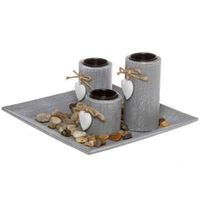elbmöbel Kerzentablett »3 Teelichthalter mit Tablett Deko«, Teelichthalter: 3er Set Tablett 13x24x24 cm grau stein kerzenhalter Dekorativ