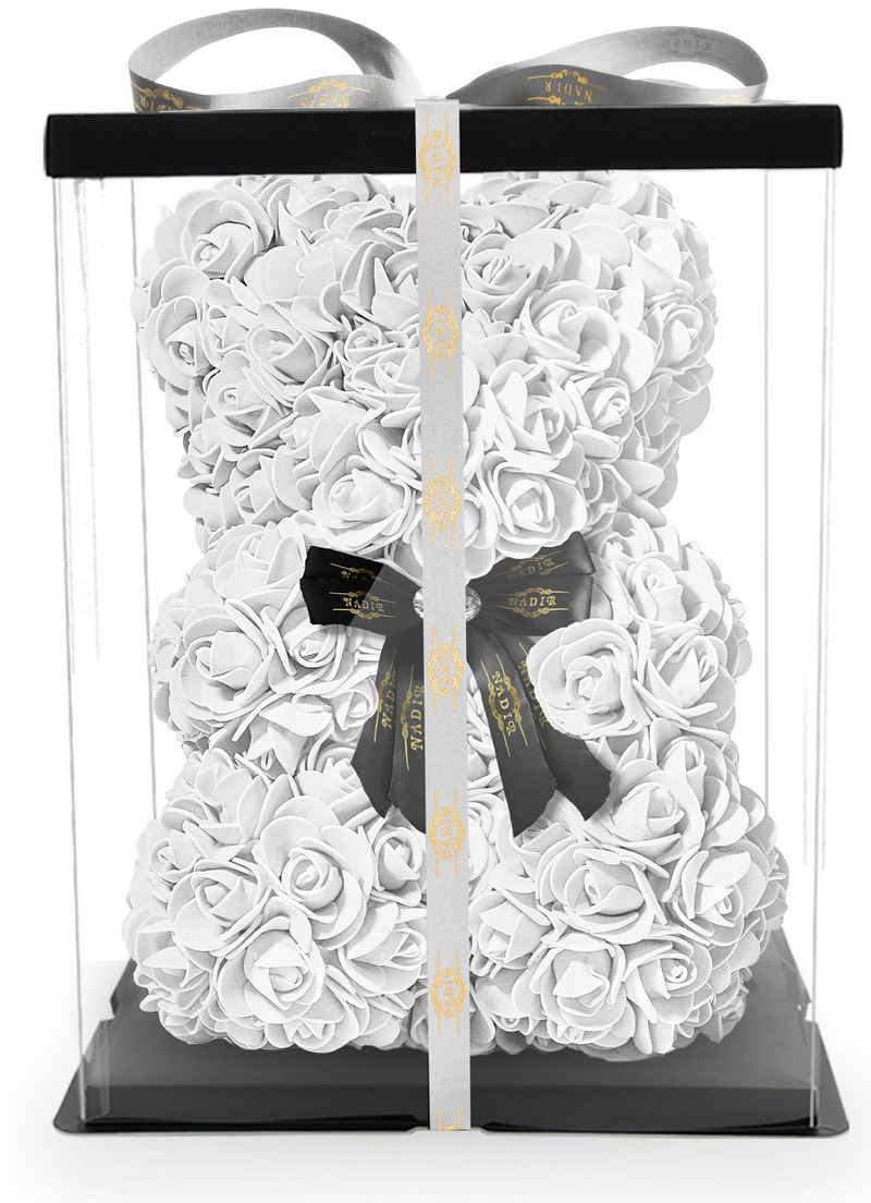 Kunstblume »NADIR Rosenbär 25 cm mit Schleife / inklusive vorverpackter Geschenkbox/ Valentinstag Muttertag Geburtstag Jahrestag Infinity Rosebear Bär aus Rosen Flower Teddy Teddybär Blütenbär« Künstliche Pflanze, NADIR
