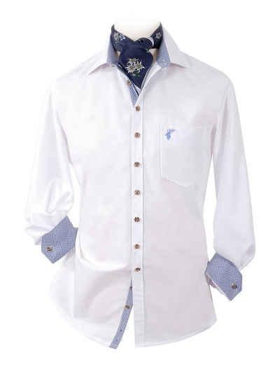 Moschen-Bayern Trachtenhemd »Trachtenhemd Slim fit Herren Wiesn-Hemd zur Lederhose Hirsch Stickerei - Herrenhemd Langarm + Kurzarm Weiß-Blau«