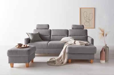 OTTO products Ecksofa »Adella«, Stoffe aus recyceltem Polyester, Federkern, wahlweise mit Bett und Bettkasten