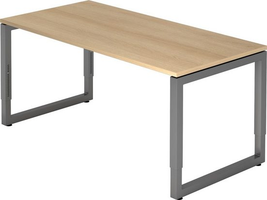 bümö Schreibtisch »OM-RS16-G«, höhenverstellbar - Rechteck: 160x80 cm - Gestell: Graphit, Dekor: Eiche