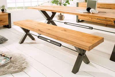riess-ambiente Sitzbank »THOR 180cm natur / anthrazit« (1-St), Massivholz · Esszimmer · Holzbank · Metall-Gestell · Eiche · Industrial