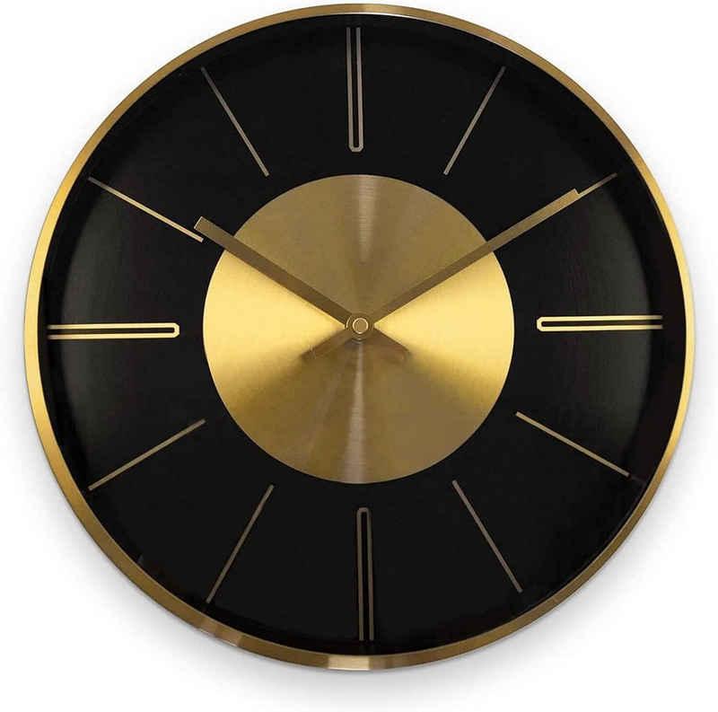 K&L Wall Art Wanduhr »lautlose moderne Aluminium Wanduhr 30cm Durchmesser Uhr ohne Ticken« (Gold Optik, Quarz Uhrwerk, Lounge, Schlafzimmer, Büro, Küche)