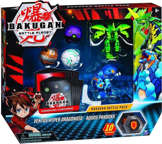 Spin Master Actionfigur »Bakugan Ventus Hyper Dragonoid vs Aquos Pandoxx«, (5-tlg), Ventus Hyper Dragonoid Aquos Pandoxx