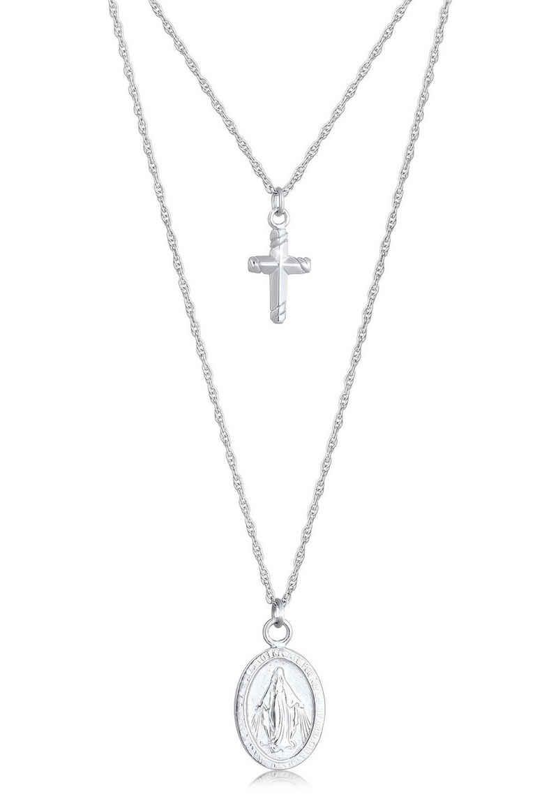 Elli Kette mit Anhänger »Halskette Layering Kreuz Marienbild Zweireihig, 0112511619, 0112851619«