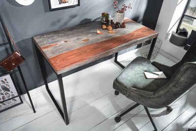 riess-ambiente Schreibtisch »ELEMENTS 118cm natur / smoke grey«, Industrial · Massivholz · Bürotisch · Sheeshamholz · Arbeitszimmer