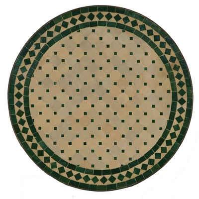 Casa Moro Gartentisch »Mediterraner Gartentisch Mosaiktisch Ø 60 cm rund grün terrakotta mit Gestell Höhe 73 cm, Kunsthandwerk aus Marokko, Handmade Bistrotisch Mosaik-Beistelltisch Balkontisch, MT2027«, Handmade