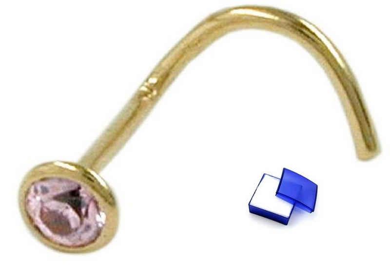 unbespielt Nasenpiercing »Nasenstecker Piercing Zirkonia pink 750 Gelbgold Gold 18 kt 2,5 mm inklusive Schmuckbox«, Goldschmuck für Damen
