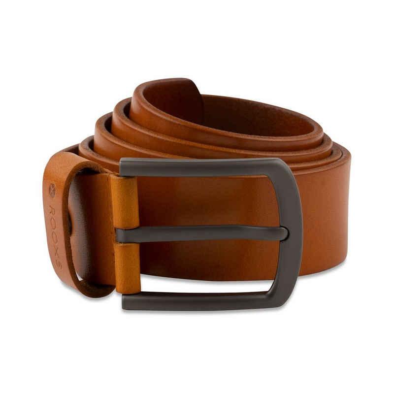 ROOXS Ledergürtel »3,8 cm breiter Vollleder Herren Gürtel« (100% Echtleder) Metallschnalle mit Dornverschluss