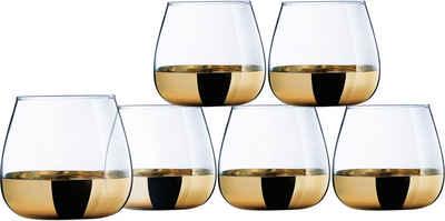 Leonique Whiskyglas »Donella«, Glas, mit hochwertigem Golddekor, 6-teilig