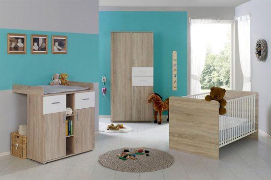 BMG Babyzimmer-Komplettset »Maxim«, (Set, 3-tlg), Bett + Wickelkommode + 3-trg. Schrank