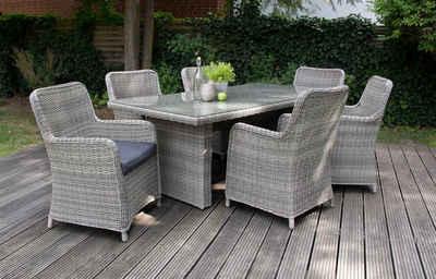 bellavista - Home&Garden® Loungeset »Rattan Dininglounge Ria 14-teilig grau von bellavi«, (Set, 14-tlg), 6 Sessel, Tisch 200x100cm