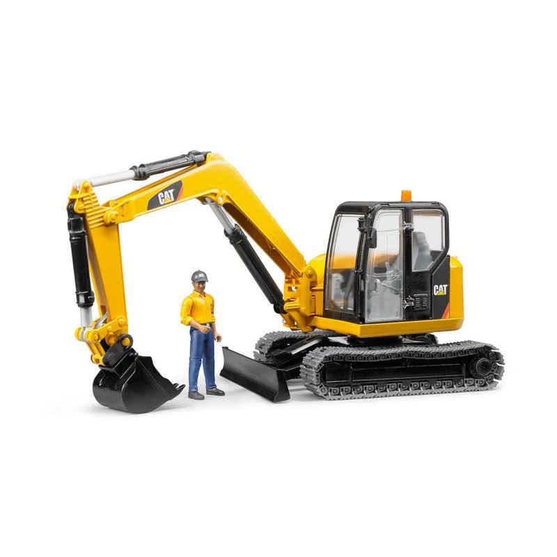Bruder® Spielzeug-Bagger »Cat Mini mit Bauarbeiter«