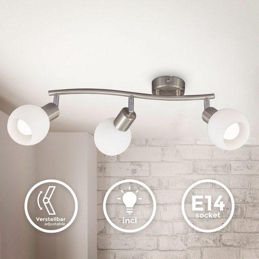 B.K.Licht LED Deckenspot »BKL1365«, schwenkbare LED Deckenlampe mit Glasschirm, warmweiße Lichtfarbe, 3x 5W, 3.000 K, E14, 3x 470lm, 3-flammig