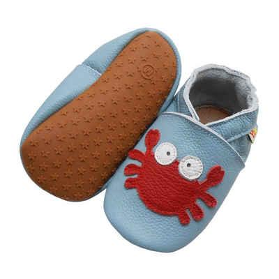 Yalion »Weiche Leder Lauflernschuhe Hausschuhe Lederpuschen Krabbe Blau 100% Leder« Krabbelschuh