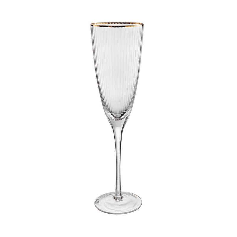 BUTLERS Champagnerglas »GOLDEN TWENTIES Champagnerflöte mit Goldrand 250ml«, Glas, mundgeblasen