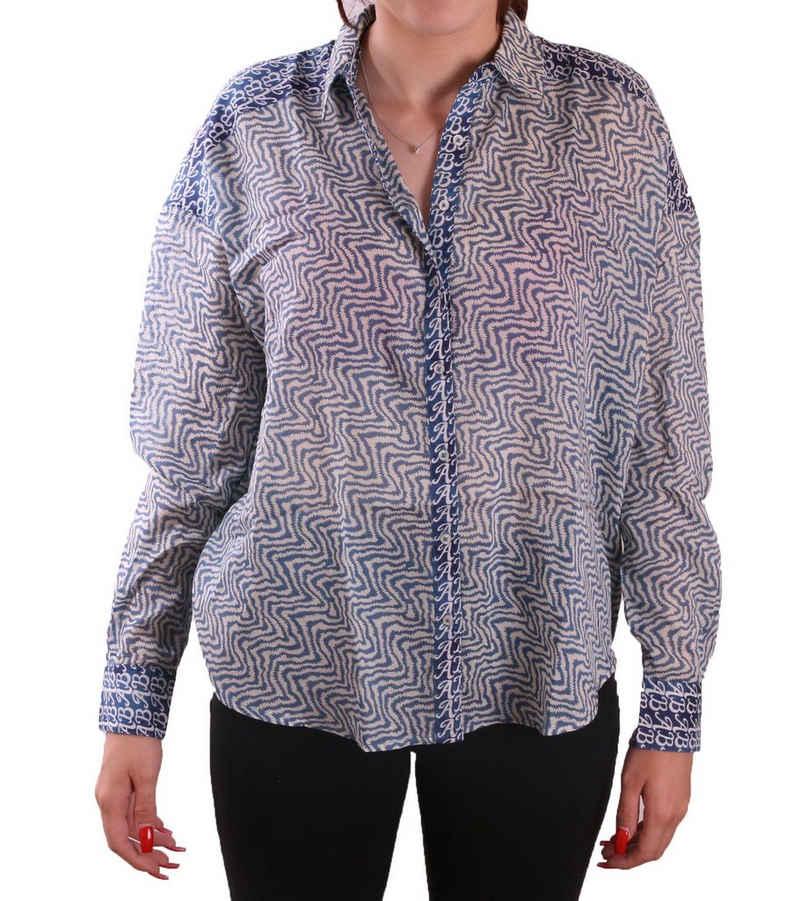 Scotch & Soda Blusentop »SCOTCH & SODA Boxy Fit Bluse modisches Damen Langarm-Shirt Freizeit-Shirt mit Mustermix Blau«