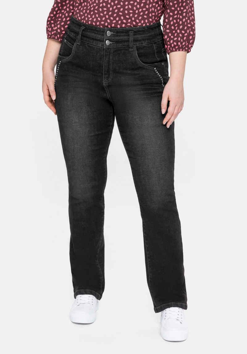 Sheego Gerade Jeans mit hohem Bund und Dekotapes
