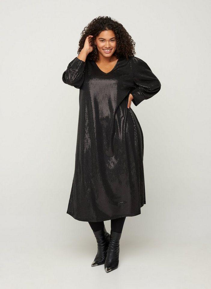 Festtagsmode - Zizzi Abendkleid Große Größen Damen Kleid mit V Ausschnitt, 3 4 Ärmeln und Glitzer ›  - Onlineshop OTTO