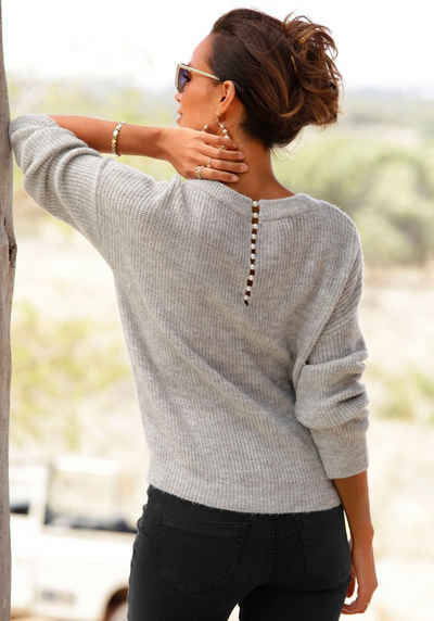 LASCANA V-Ausschnitt-Pullover mit Zierperlen im Rücken