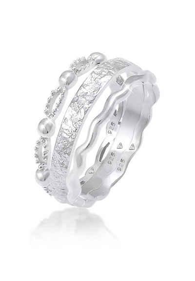 Elli Ring Set »Stabelringe Gehämmert Wellen (3 tlg) 925 Silber«, Bandring