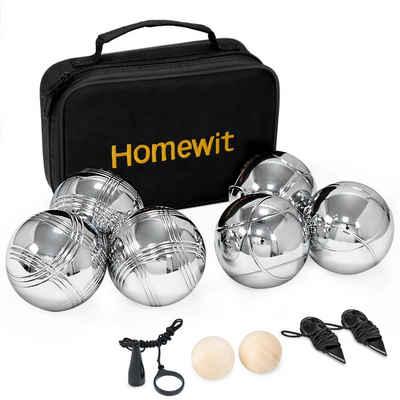 Homewit Spielball »Boule Set mit 2 Holzkugeln, 2 Abstandsmesser, 1 Boules-Kugel Magnetvorrichtung & Luxuriöser Tragetasche« (Packung set, 6er-Pack), Boccia Set für Outdoor Spaß,Sport Spiel