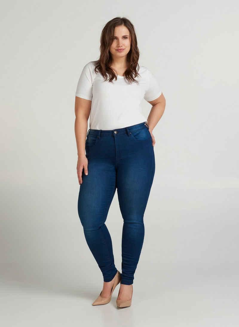 Zizzi Slim-fit-Jeans Große Größen Damen Hohe Taille Taschen Gürtelriemen