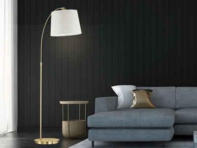 FISCHER & HONSEL LED Bogenlampe, Stehlampe höhenverstellbar Lampen-Schirm Stoff, Stehleuchte & Leselampe goldfarben Design modern für Wohnzimmer Leseleuchte Couch Bogenleuchte als Esszimmer-Lampe über Esstisch, Stand-Lampe & Standleu